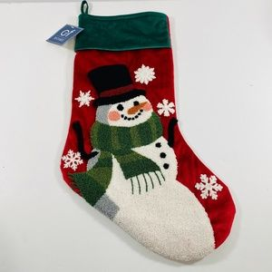 C And F Home Snowman Green Red Tufted Stocking